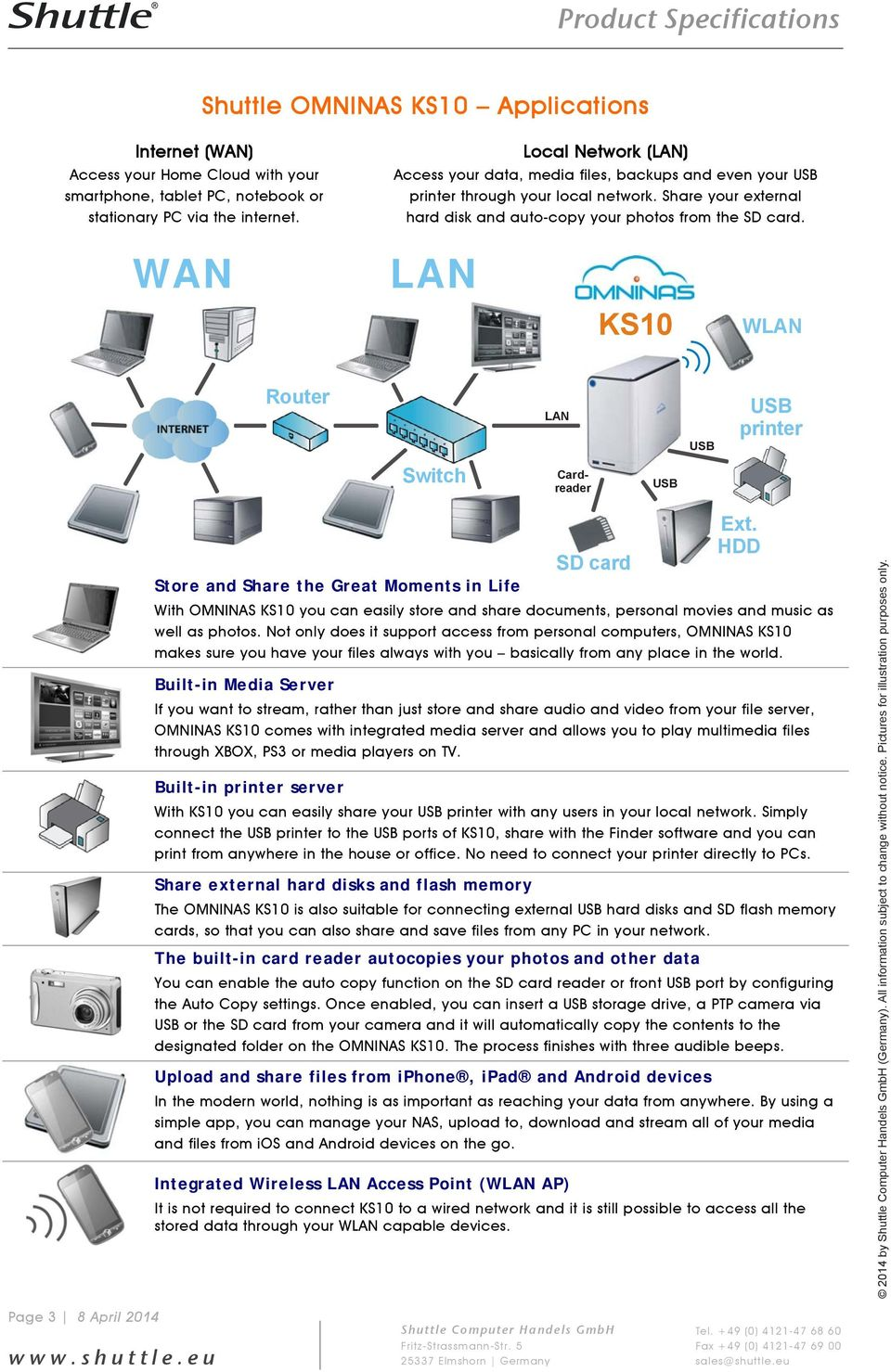 WAN LAN KS10 WLAN Router LAN printer Switch Cardreader Store and Share the Great Moments in Life SD card Ext.