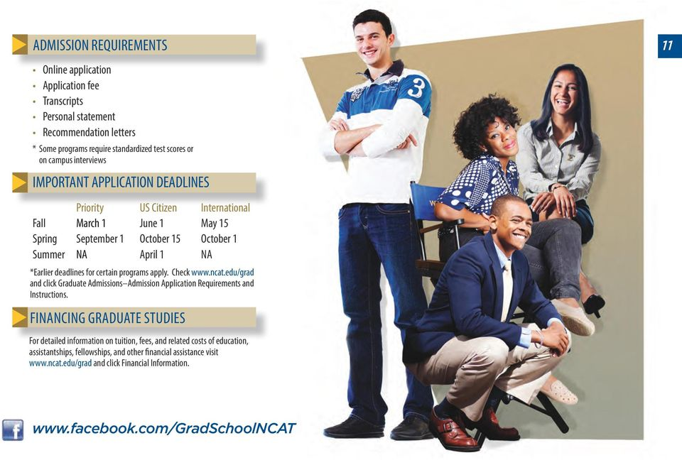 certain programs apply. Check www.ncat.edu/grad and click Graduate Admissions Admission Application Requirements and Instructions.