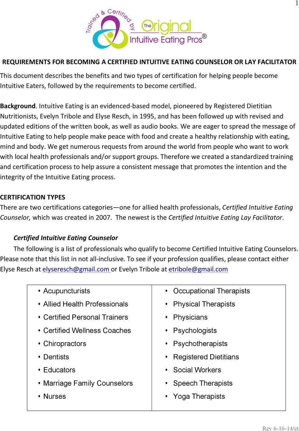 Requirements For Becoming A Certified Intuitive Eating Counselor Or