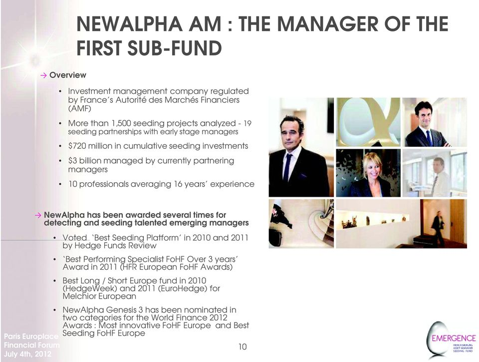 NewAlpha has been awarded several times for detecting and seeding talented emerging managers Voted Best Seeding Platform in 2010 and 2011 by Hedge Funds Review Best Performing Specialist FoHF Over 3