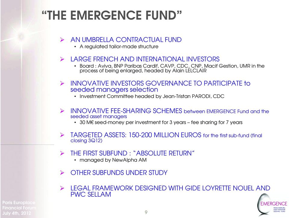 INNOVATIVE FEE-SHARING SCHEMES between EMERGENCE Fund and the seeded asset managers 30 M seed-money per investment for 3 years fee sharing for 7 years TARGETED ASSETS: 150-200 MILLION EUROS