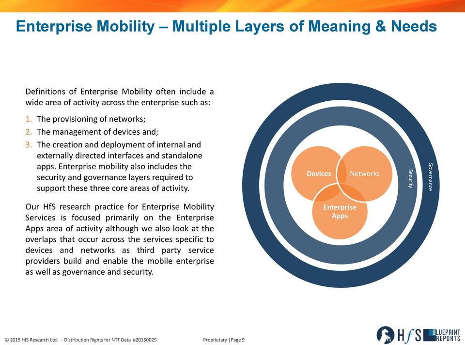 Enterprise mobility also includes the security and governance layers required to support these three core areas of activity.