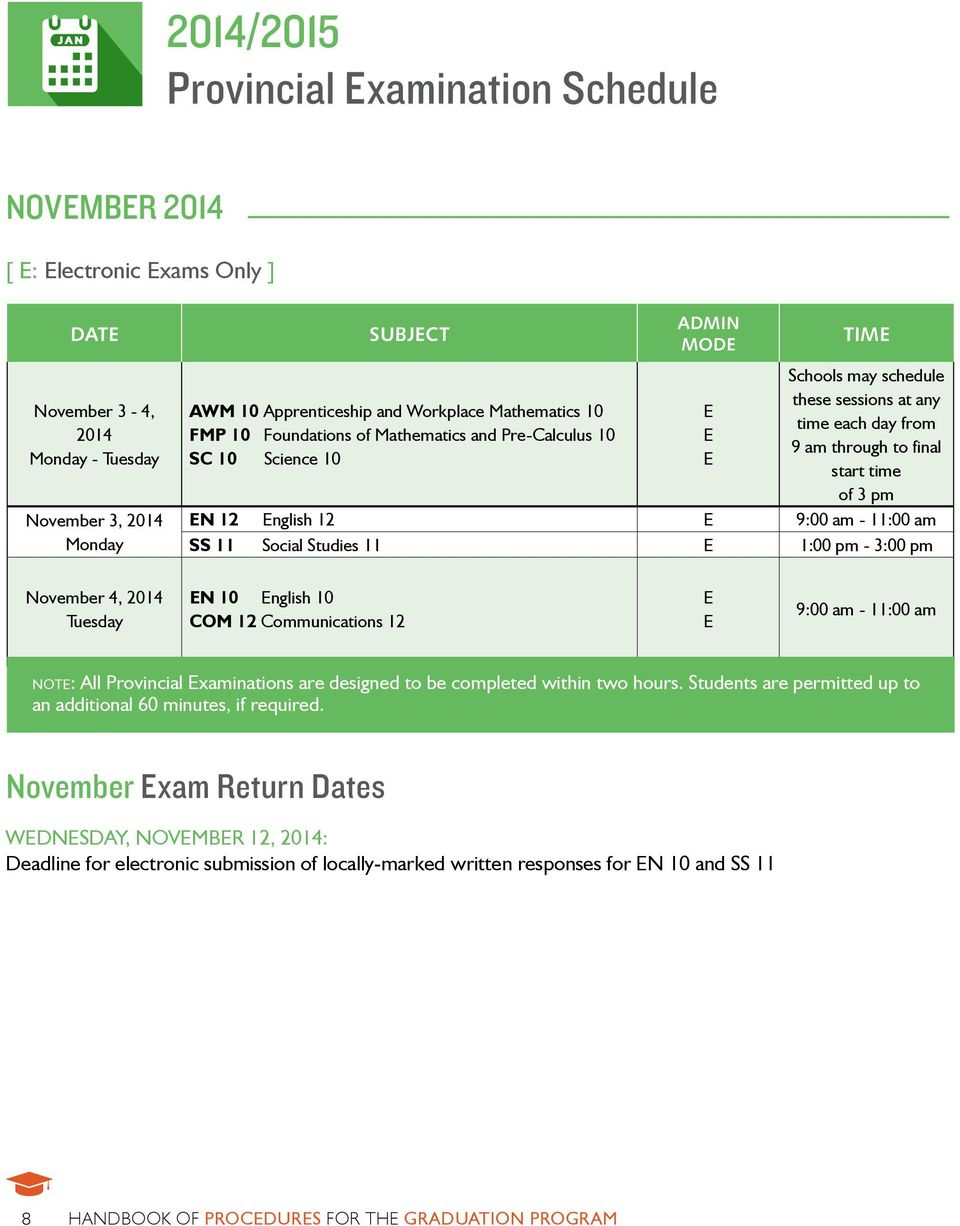3 pm EN 12 English 12 E 9:00 am - 11:00 am SS 11 Social Studies 11 E 1:00 pm - 3:00 pm November 4, 2014 Tuesday EN 10 English 10 COM 12 Communications 12 E E 9:00 am - 11:00 am note: All Provincial