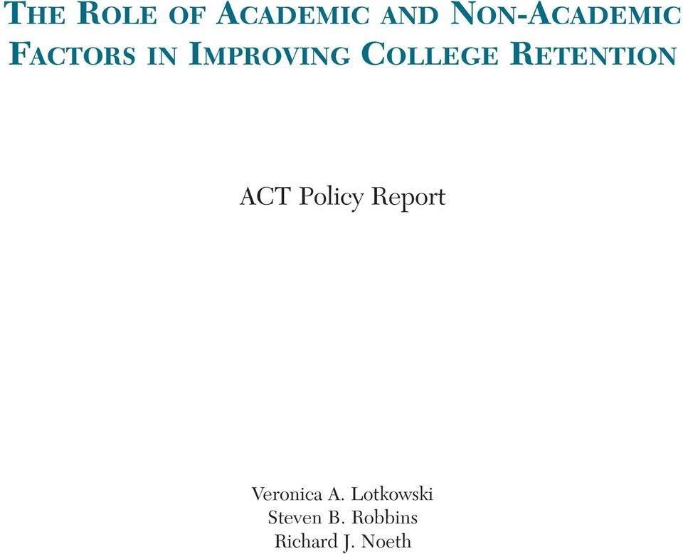 RETENTION ACT Policy Report Veronica