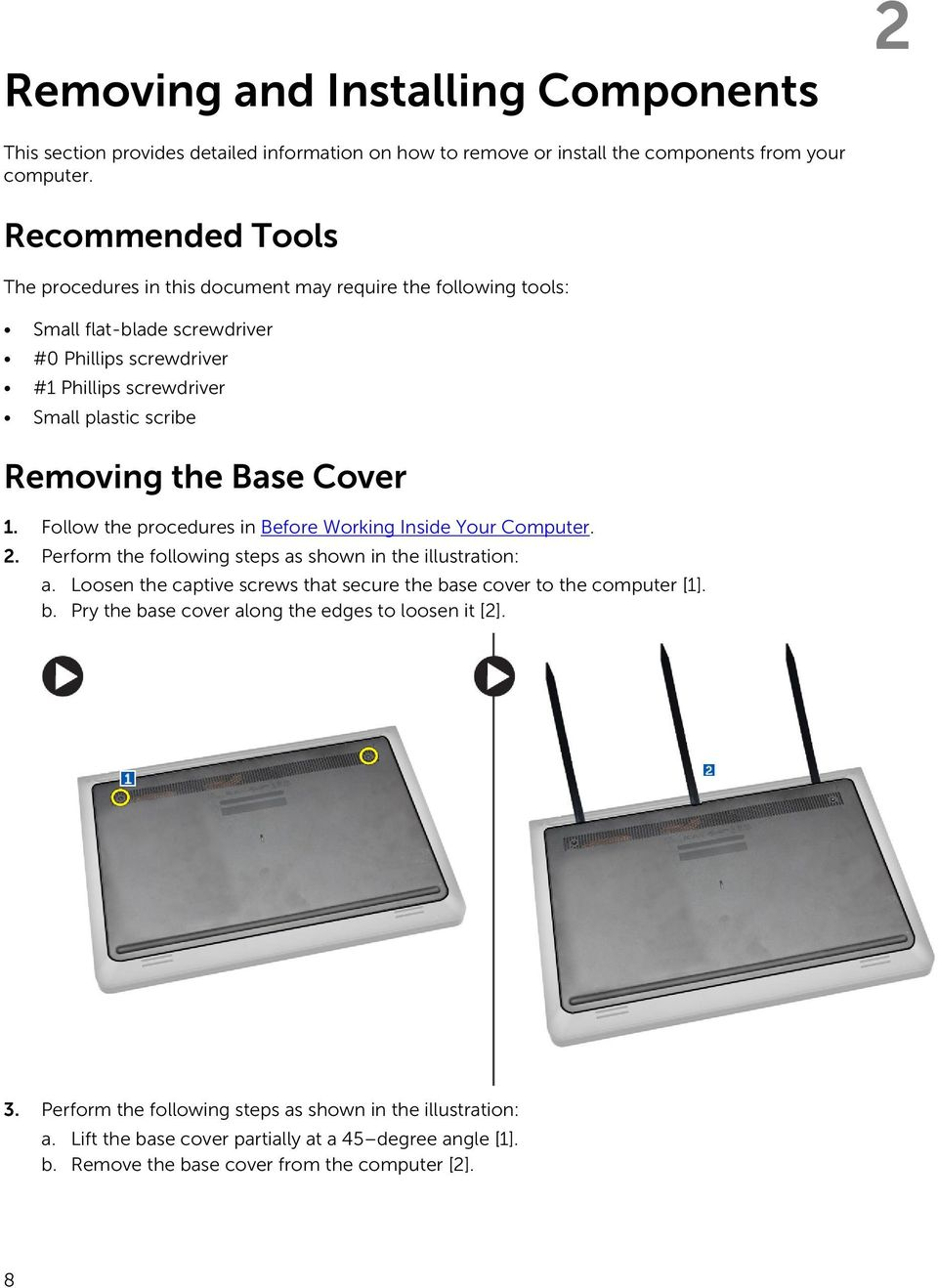 Base Cover 1. Follow the procedures in Before Working Inside Your Computer. 2. Perform the following steps as shown in the illustration: a.