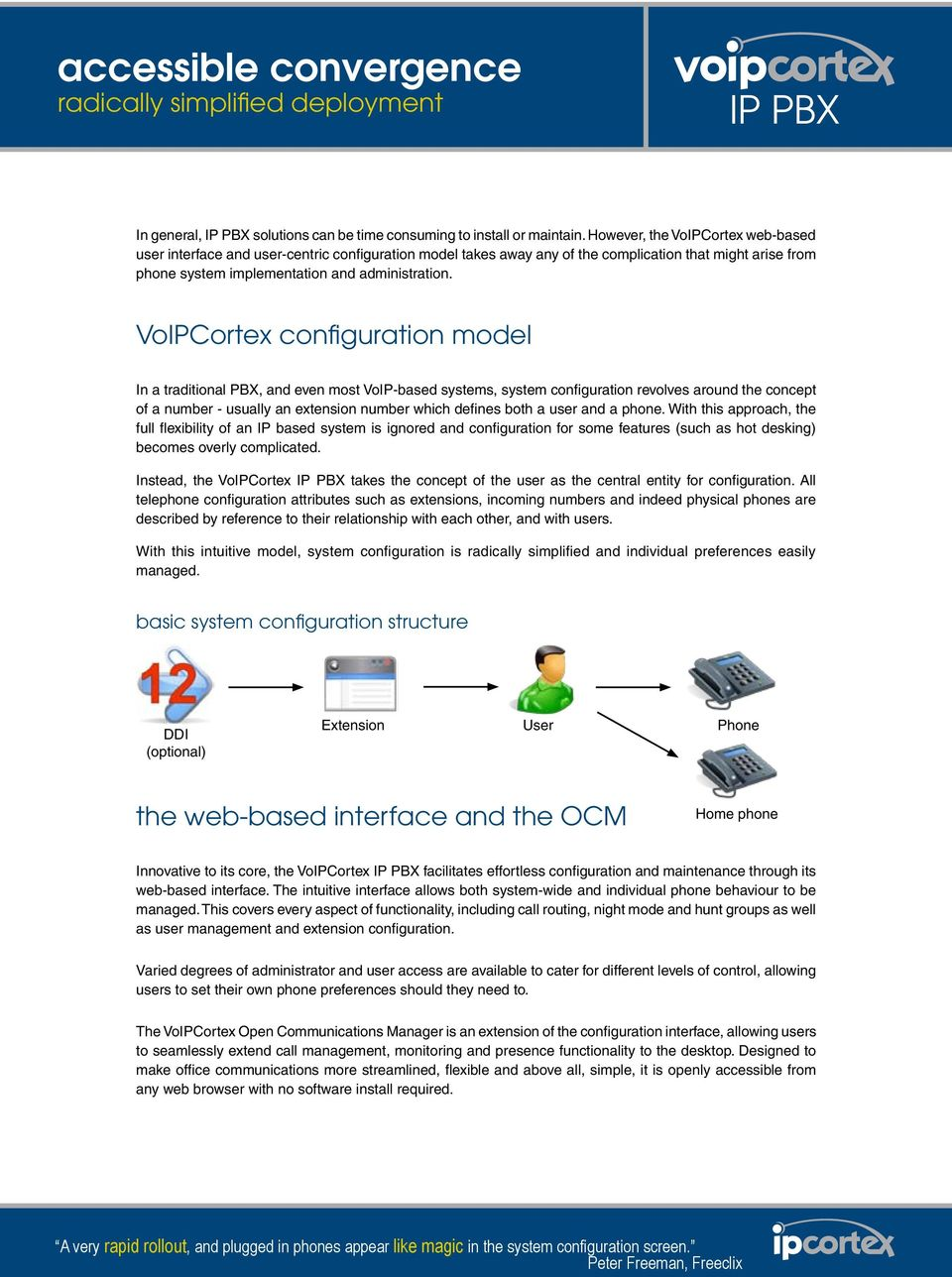 VoIPCortex configuration model In a traditional PBX, and even most VoIP-based systems, system configuration revolves around the concept of a number - usually an extension number which defines both a