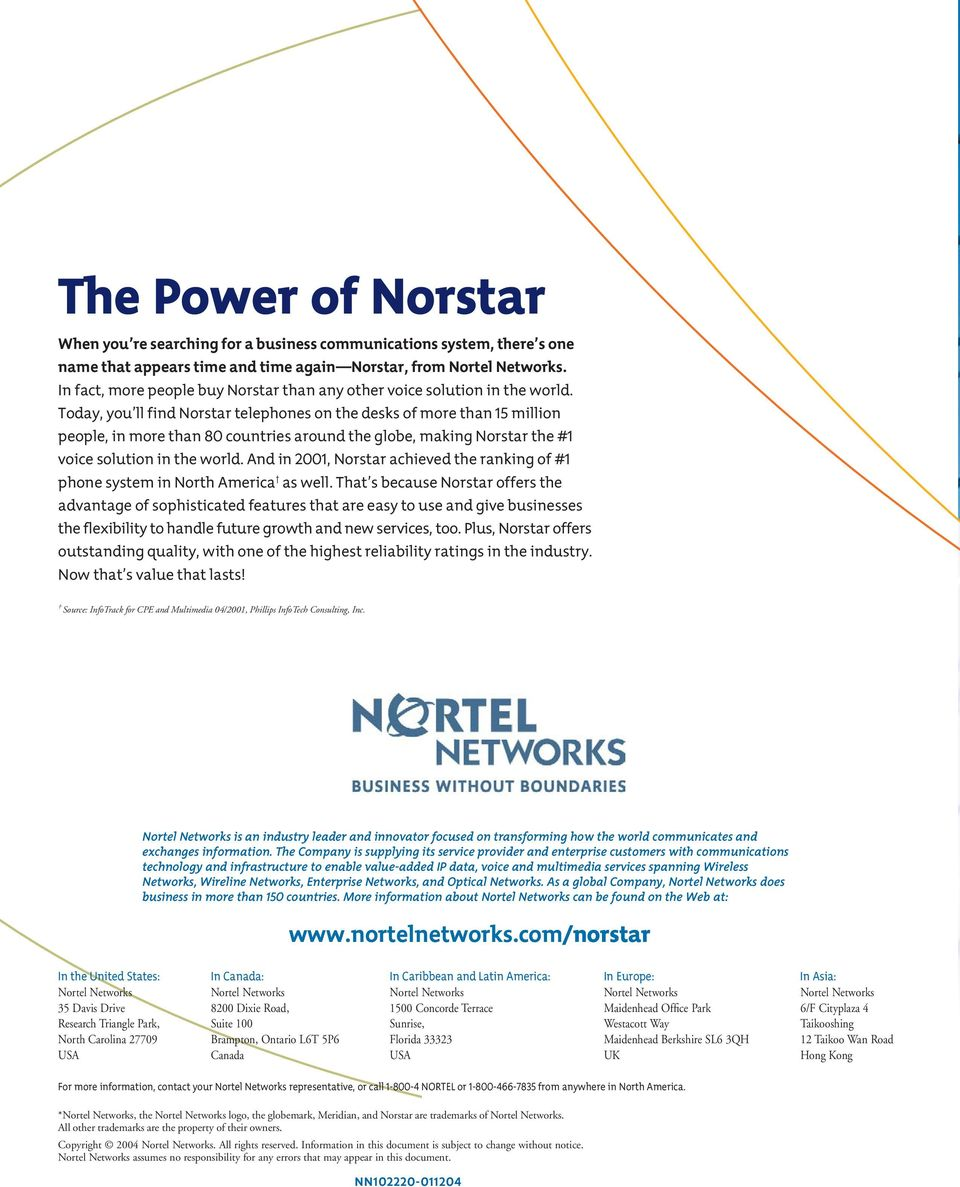 Today, you ll find Norstar telephones on the desks of more than 15 million people, in more than 80 countries around the globe, making Norstar the #1 voice solution in the world.