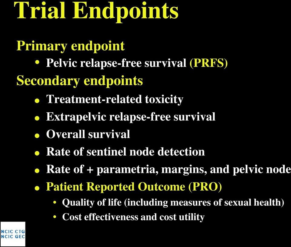 sentinel node detection Rate of + parametria, margins, and pelvic node Patient Reported