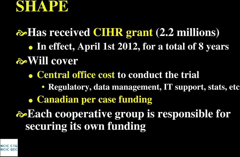 Central office cost to conduct the trial Regulatory, data management, IT