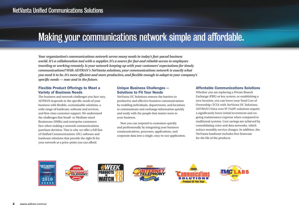 Is your network keeping up with your customers expectations for timely communications? With ADTRAN s NetVanta solutions, your communications network is exactly what you need it to be.