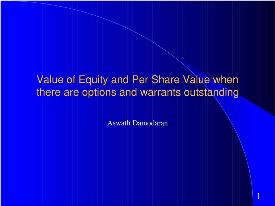 Equity value stock options