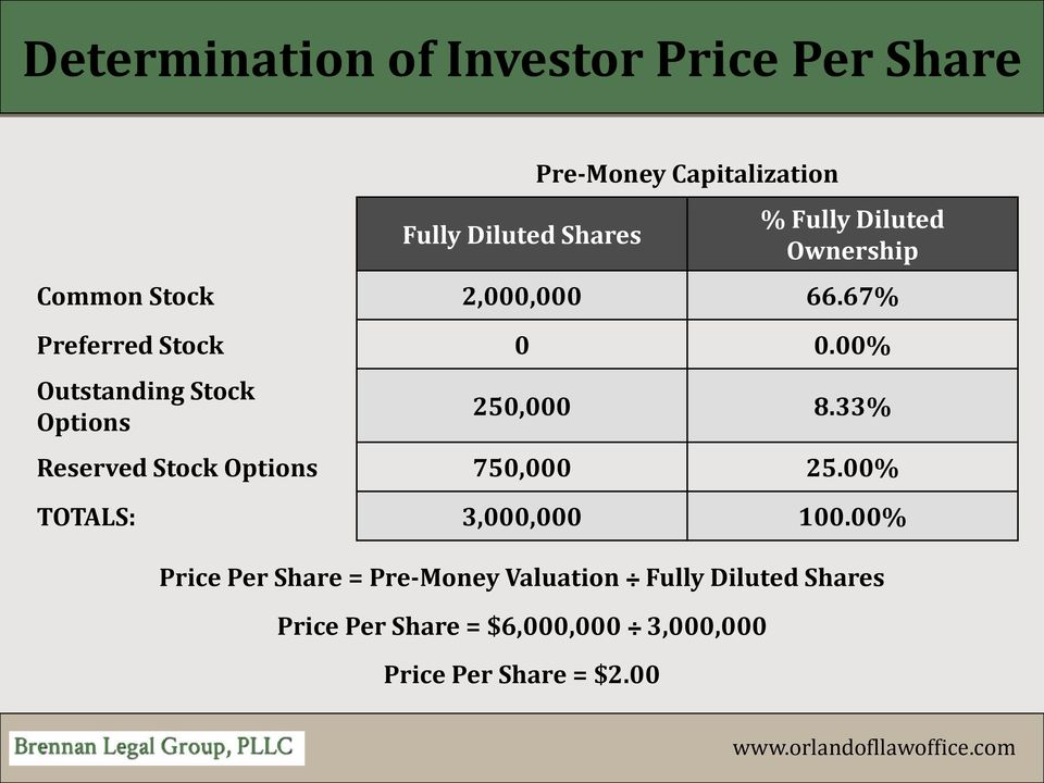00% Outstanding Stock Options 250,000 8.33% Reserved Stock Options 750,000 25.