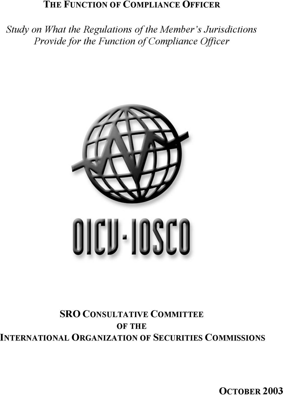 Function of Compliance Officer SRO CONSULTATIVE COMMITTEE OF