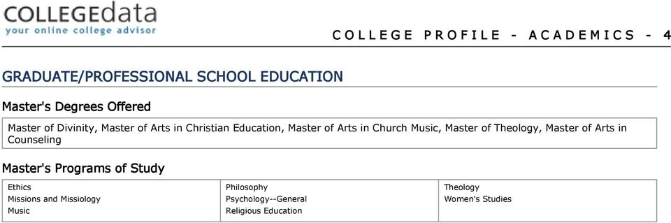 in Church Music, Master of Theology, Master of Arts in Counseling Master's Programs of Study
