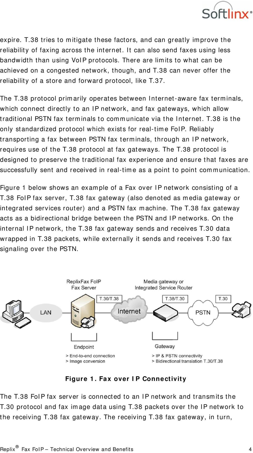 38 protocol primarily operates between Internet-aware fax terminals, which connect directly to an IP network, and fax gateways, which allow traditional PSTN fax terminals to communicate via the