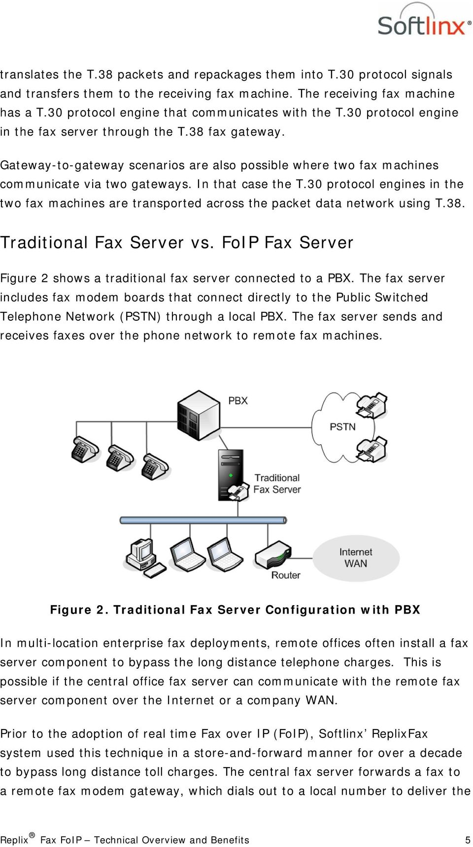 Gateway-to-gateway scenarios are also possible where two fax machines communicate via two gateways. In that case the T.