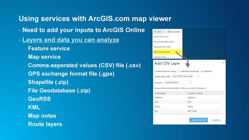 can analyze - Feature service - Map service - Comma-seperated values (CSV)