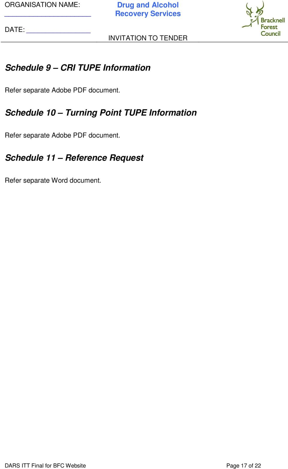 Schedule 10 Turning Point TUPE Information Refer separate