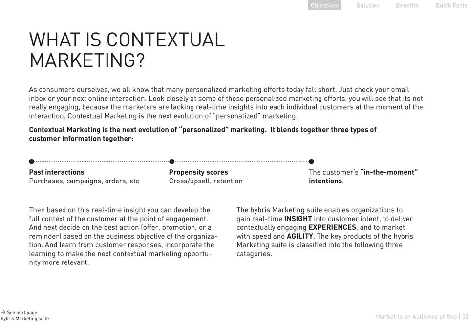 moment of the interaction. Contextual Marketing is the next evolution of personalized marketing.