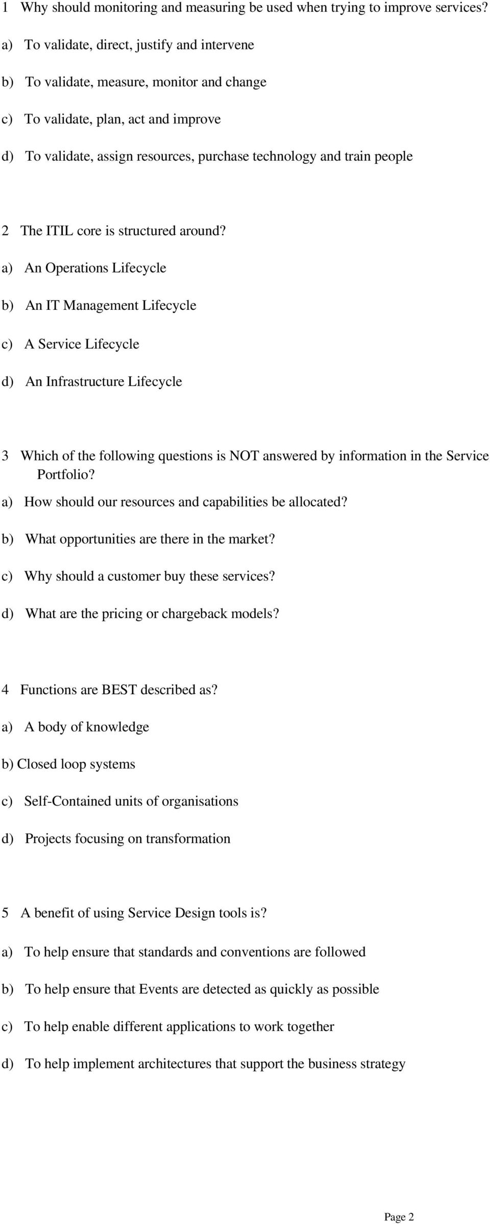 1 why should monitoring and measuring be used when trying to 2 the itil core is structured around xflitez Gallery