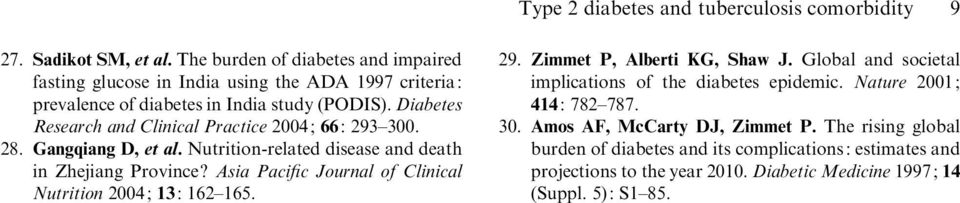 Diabetes Research and Clinical Practice 24; 66: 293 3. 28. Gangqiang D, et al. Nutrition-related disease and death in Zhejiang Province?