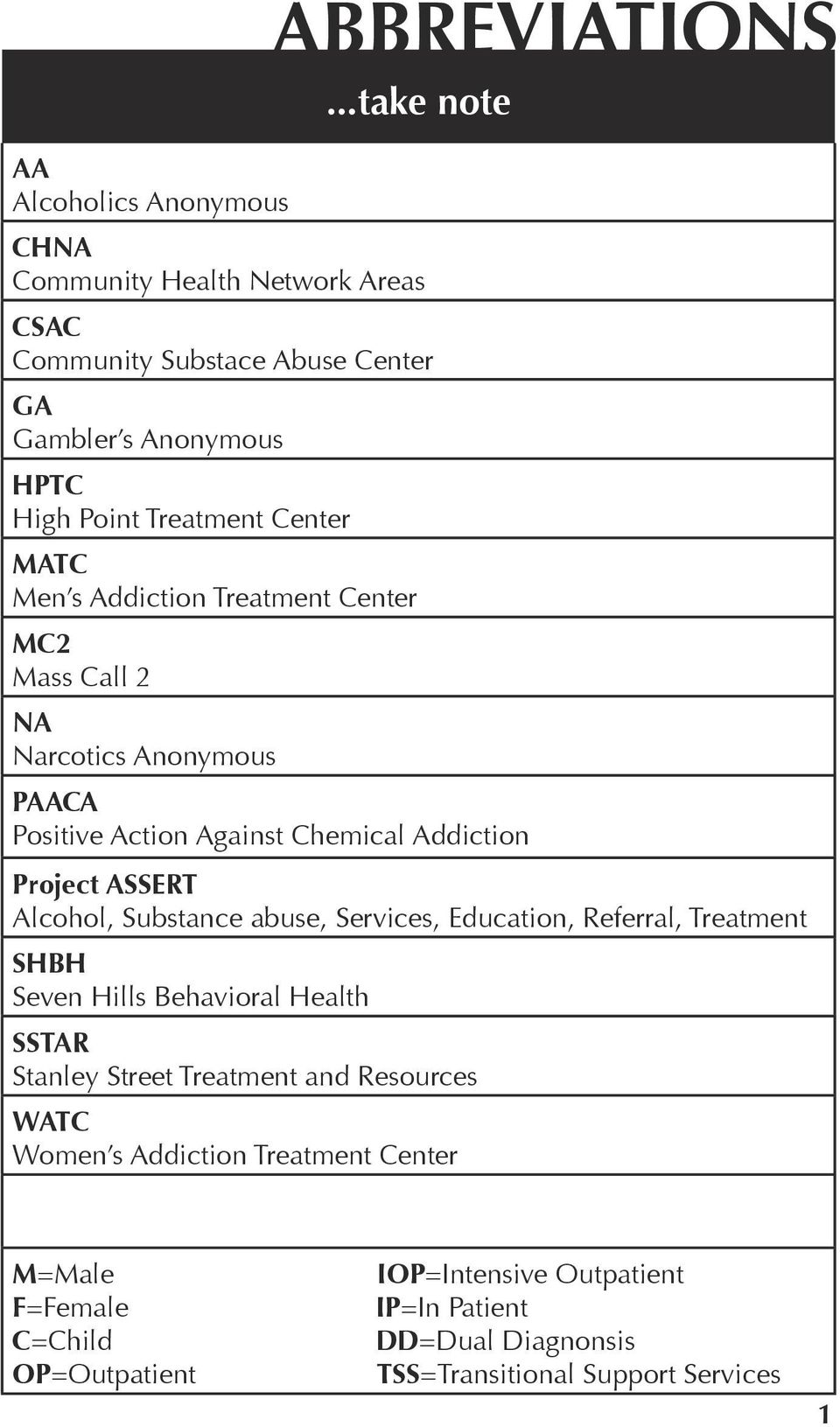 Center MATC Men s Addiction Treatment Center MC2 Mass Call 2 NA Narcotics Anonymous PAACA Positive Action Against Chemical Addiction Project ASSERT Alcohol,
