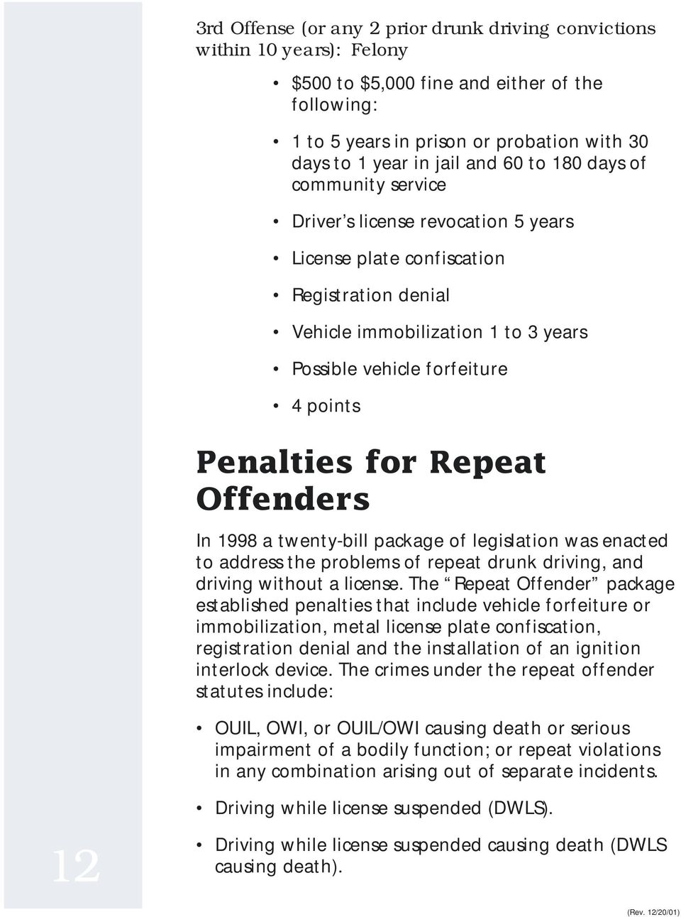 Penalties for Repeat Offenders In 1998 a twenty-bill package of legislation was enacted to address the problems of repeat drunk driving, and driving without a license.