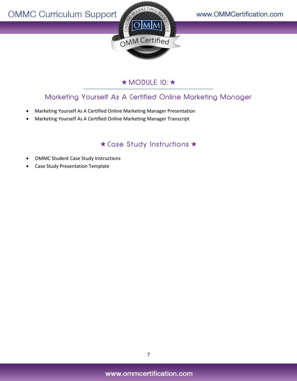 Marketing Yourself As A Certified Online Marketing Manager Transcript OMMC
