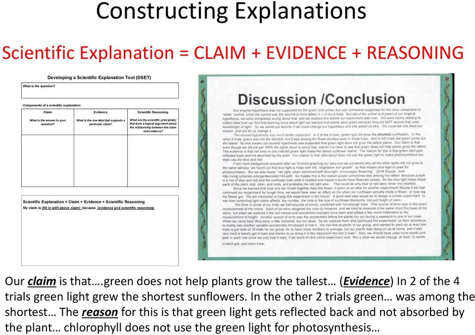 Scientific Reasoning What are the scientific principle(s) that form a logical argument about the relationship between the claim and evidence?