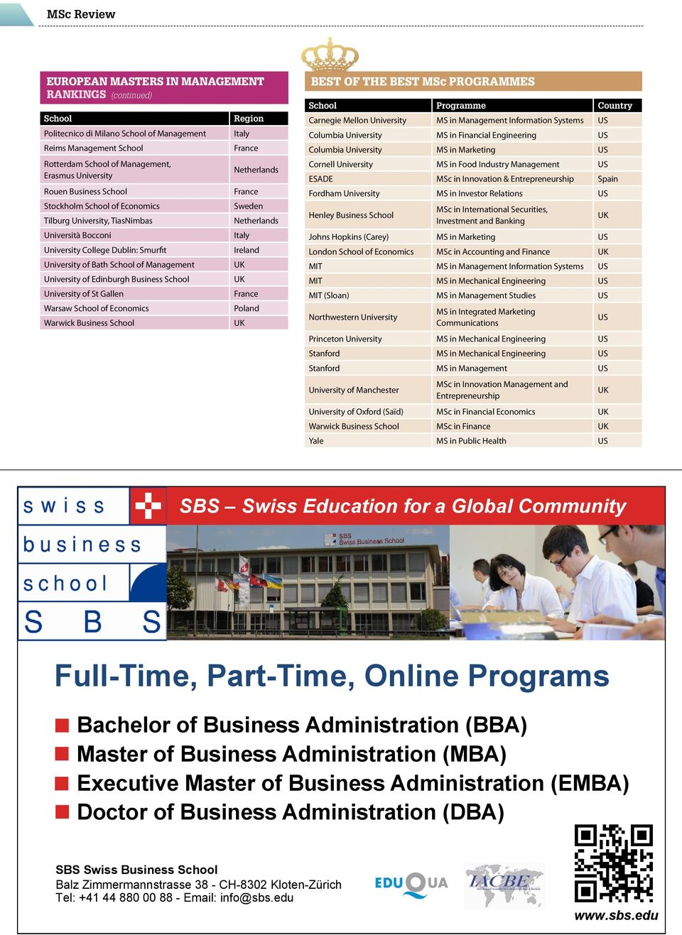 Warwick Business Sweden BEST OF THE BEST MSc PROGRAMMES Programme Country Carnegie Mellon University MS in Management Information Systems US Columbia University MS in Financial Engineering US