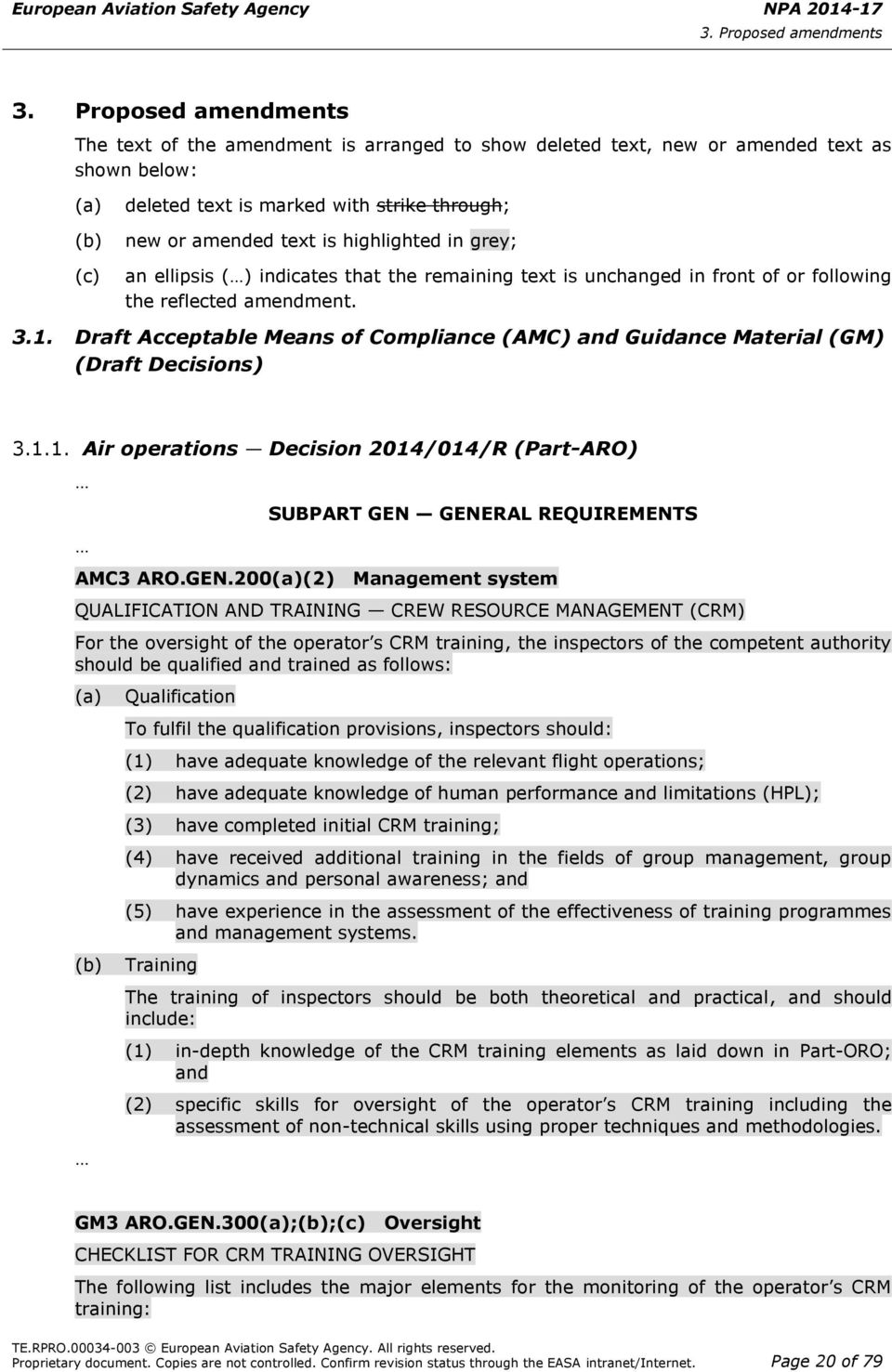 Draft Acceptable Means of Compliance (AMC) and Guidance Material (GM) (Draft Decisions) 3.1.1. Air operations Decision 2014/014/R (Part-ARO) SUBPART GEN