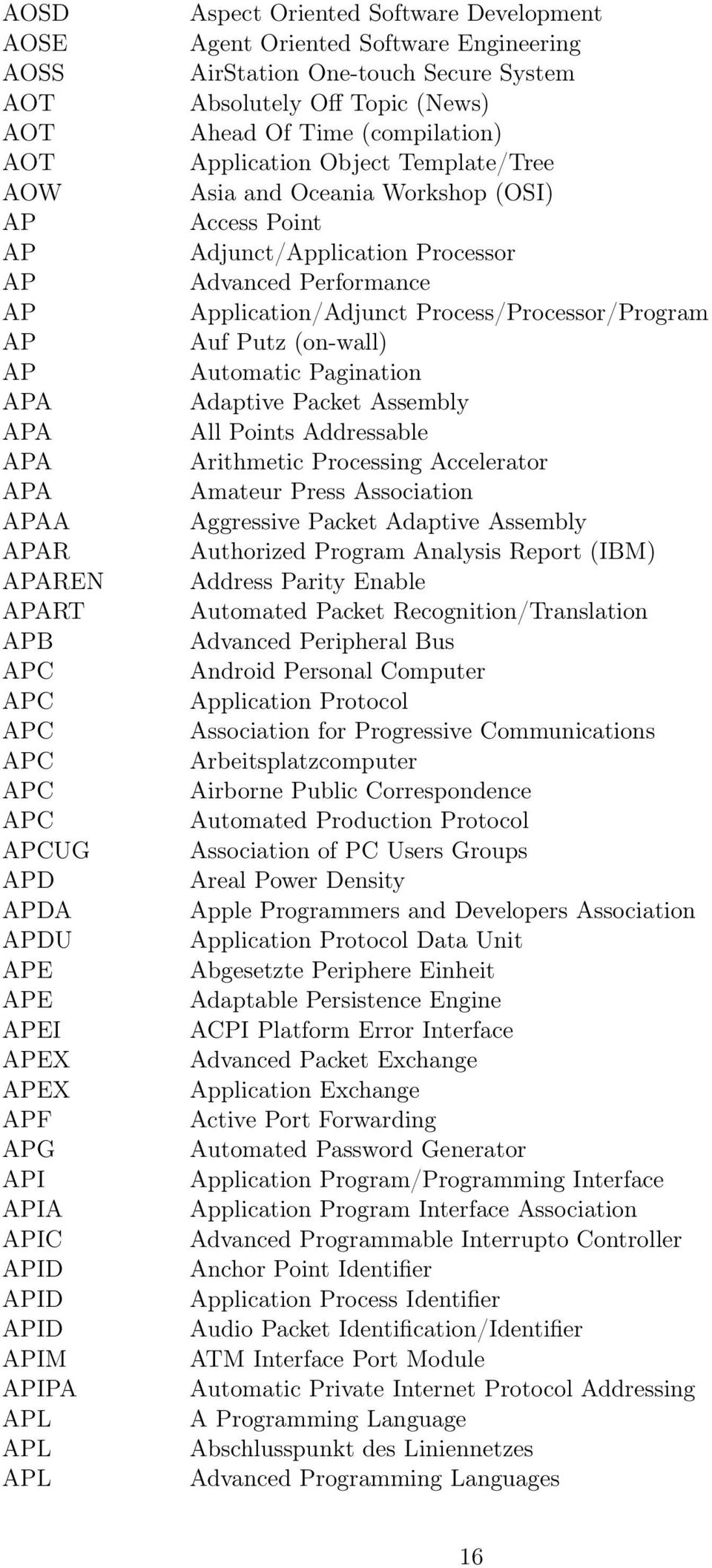 Object Template/Tree Asia and Oceania Workshop (OSI) Access Point Adjunct/Application Processor Advanced Performance Application/Adjunct Process/Processor/Program Auf Putz (on-wall) Automatic