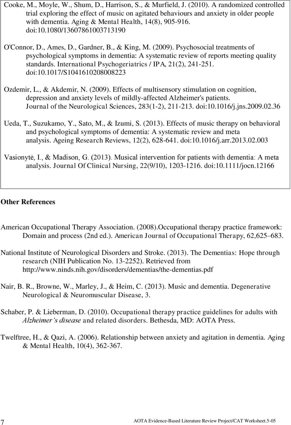 Psychosocial treatments of psychological symptoms in dementia: A systematic review of reports meeting quality standards. International Psychogeriatrics / IPA, 21(2), 241-251. doi:10.