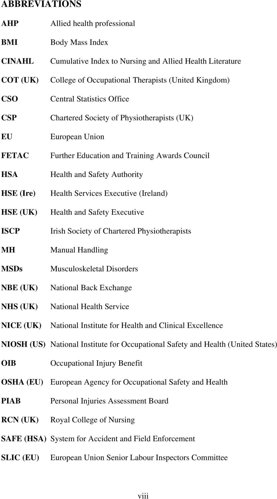 Council Health and Safety Authority Health Services Executive (Ireland) Health and Safety Executive Irish Society of Chartered Physiotherapists Manual Handling Musculoskeletal Disorders National Back