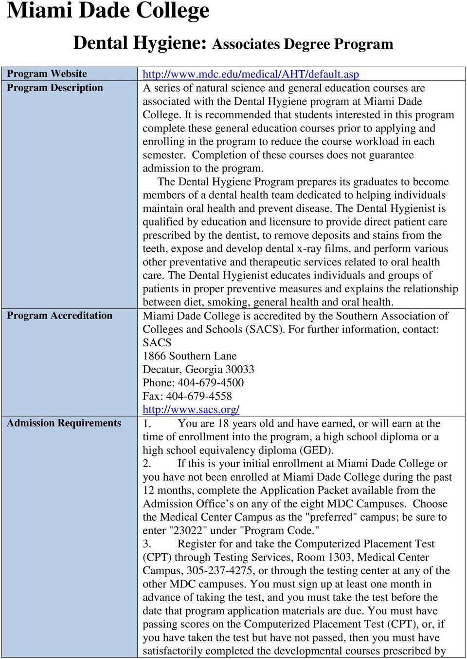 Miami Dade College  Dental Hygiene: Associates Degree Program - PDF