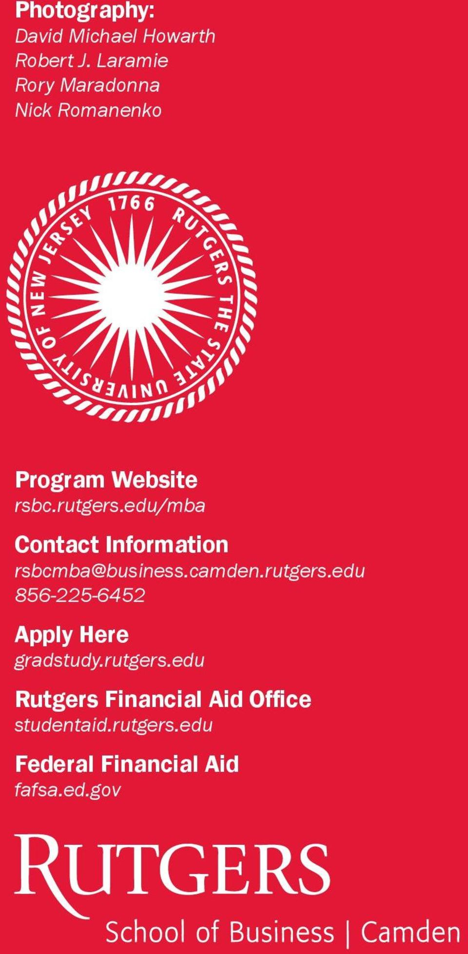 edu/mba Contact Information rsbcmba@business.camden.rutgers.
