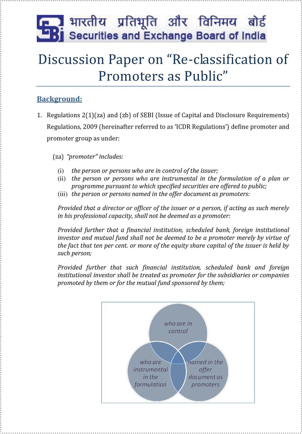 promoter includes: (i) the person or persons who are in control of the issuer; (ii) the person or persons who are instrumental in the formulation of a plan or programme pursuant to which specified
