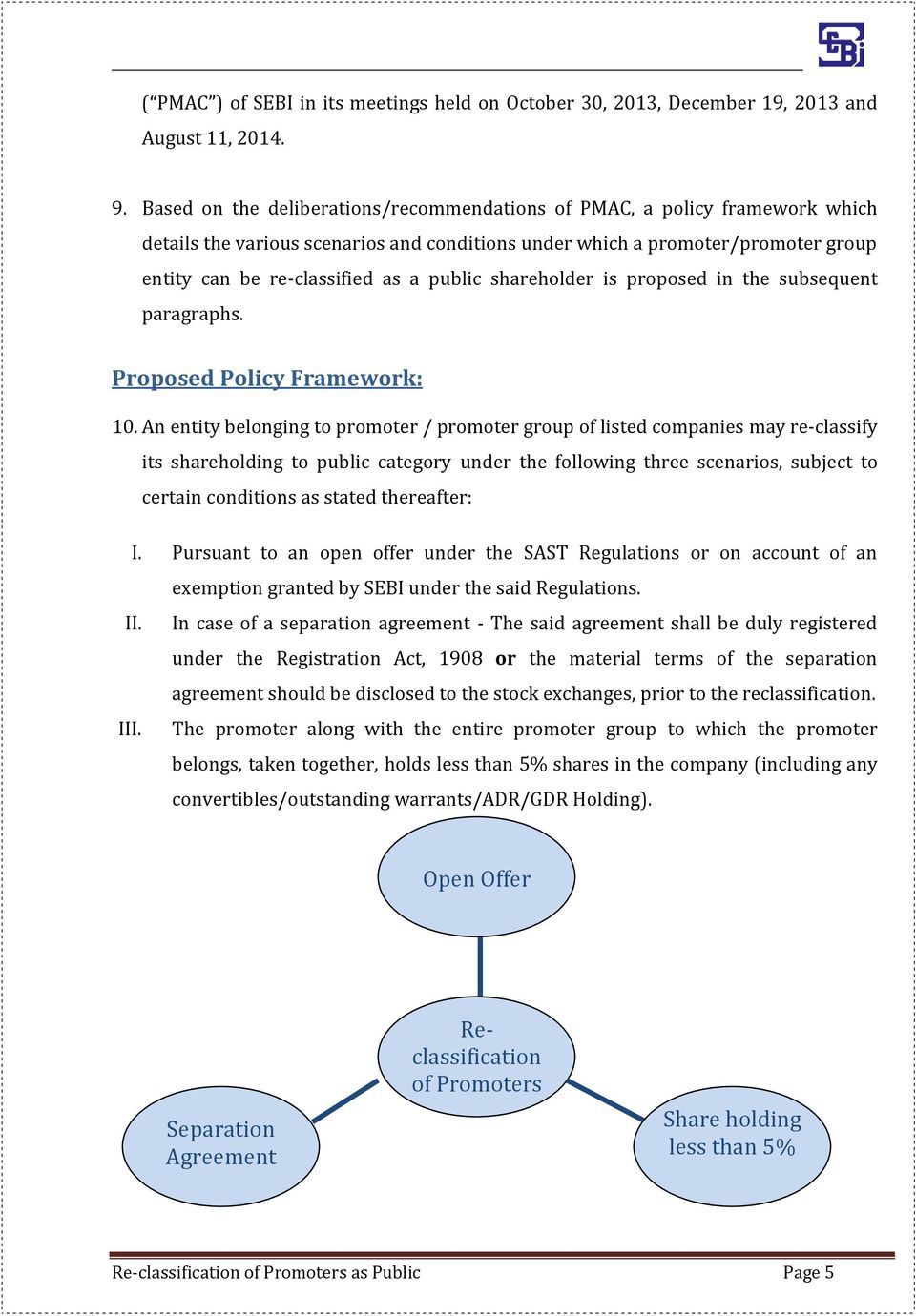 shareholder is proposed in the subsequent paragraphs. Proposed Policy Framework: 10.