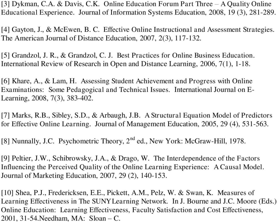 International Review of Research in Open and Distance Learning, 2006, 7(1), 1-18. [6] Khare, A., & Lam, H.