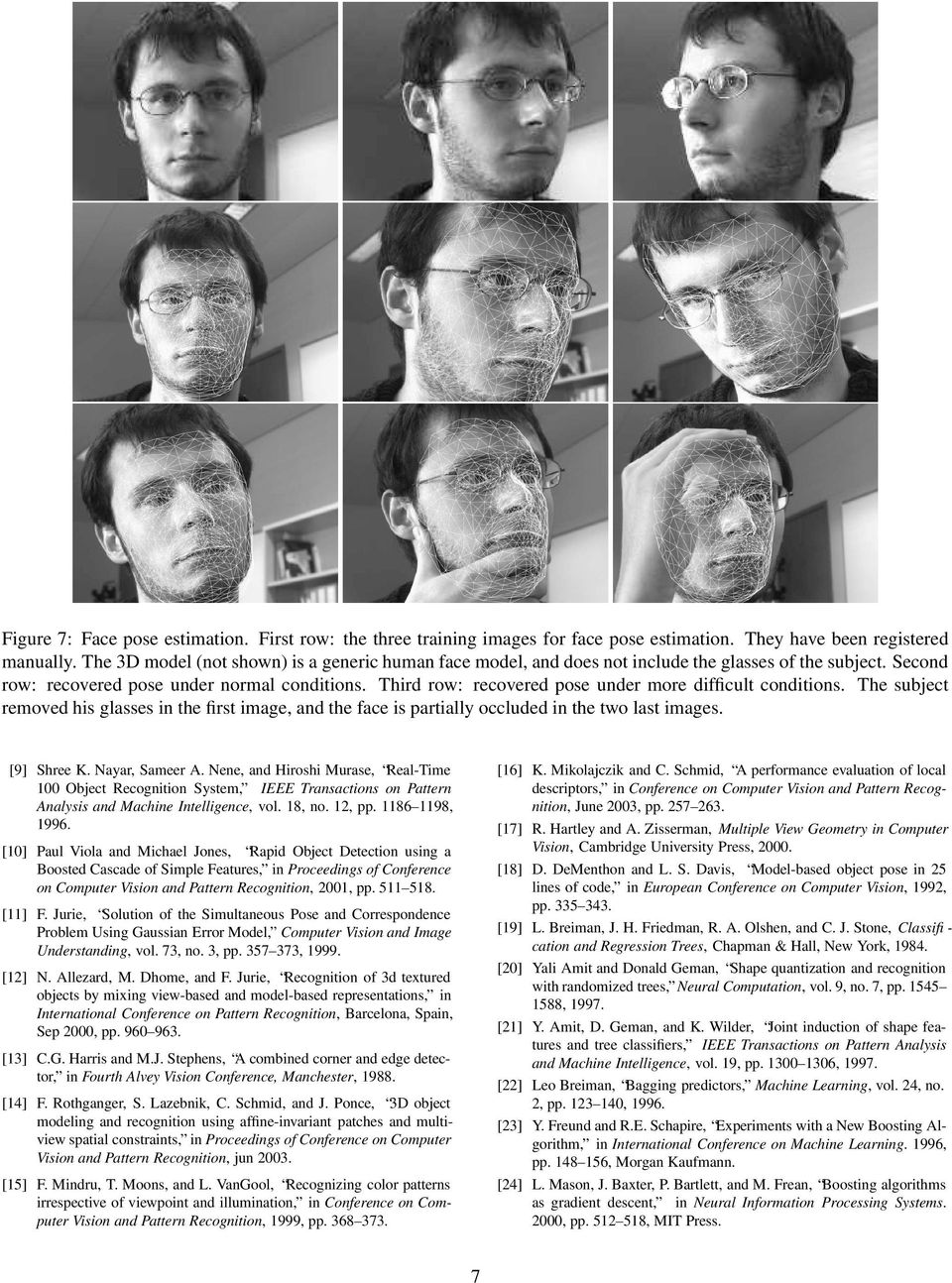 Third row: recovered pose under more difficult conditions. The subject removed his glasses in the first image, and the face is partially occluded in the two last images. [9] Shree K. Nayar, Sameer A.