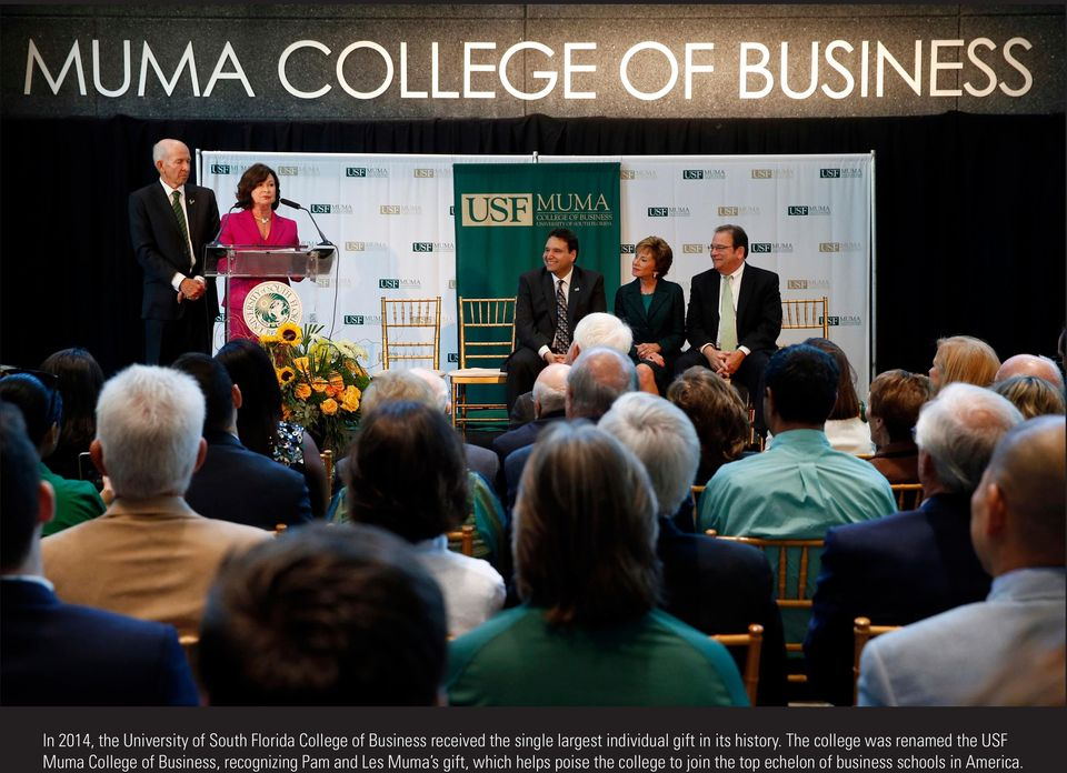 The college was renamed the USF Muma College of Business, recognizing Pam