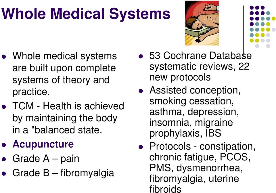 Acupuncture Grade A pain Grade B fibromyalgia 53 Cochrane Database systematic reviews, 22 new protocols Assisted
