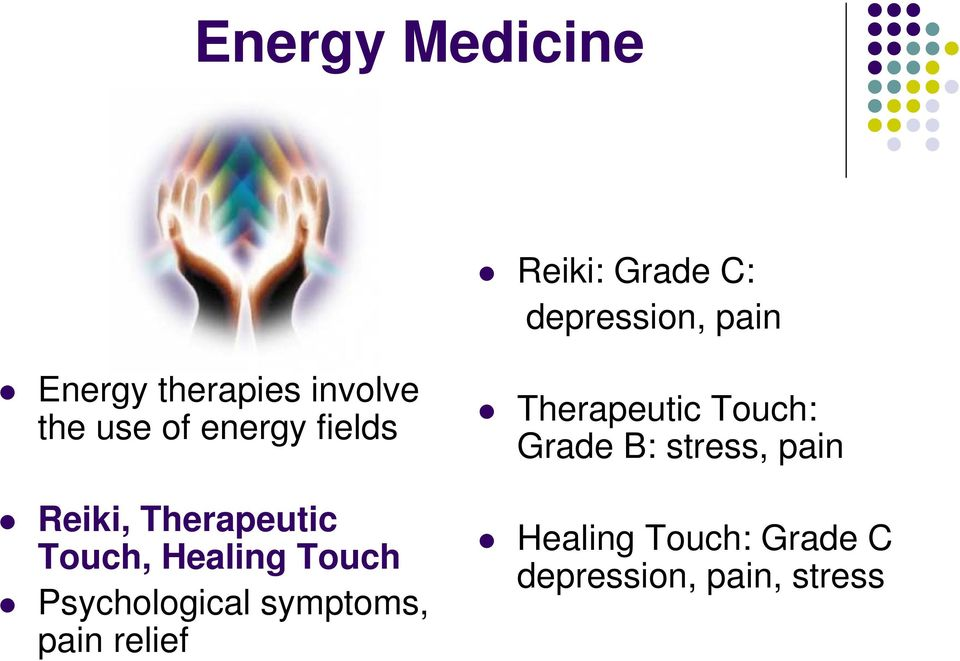 Healing Touch Psychological symptoms, pain relief Therapeutic
