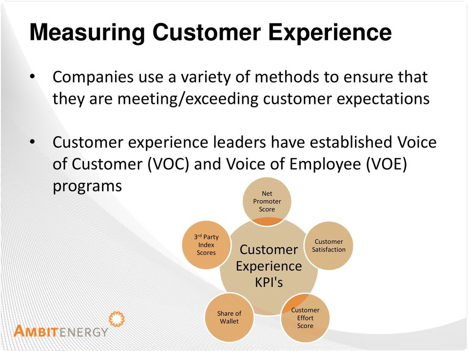 of Customer (VOC) and Voice of Employee (VOE) programs Net Promoter Score 3 rd Party Index