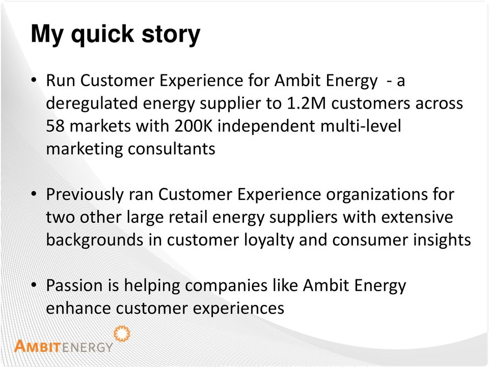 Customer Experience organizations for two other large retail energy suppliers with extensive