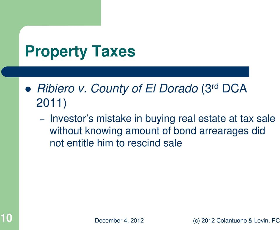mistake in buying real estate at tax sale