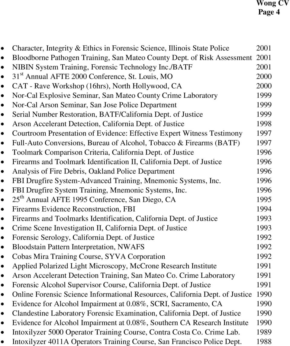 Louis, MO 2000 CAT - Rave Workshop (16hrs), North Hollywood, CA 2000 Nor-Cal Explosive Seminar, San Mateo County Crime Laboratory 1999 Nor-Cal Arson Seminar, San Jose Police Department 1999 Serial