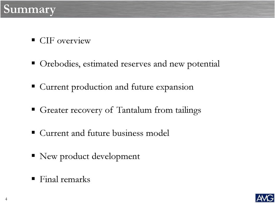 Greater recovery of Tantalum from tailings Current and