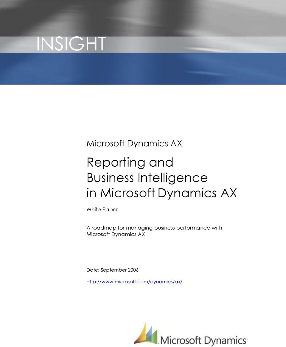roadmap for managing business performance with Microsoft