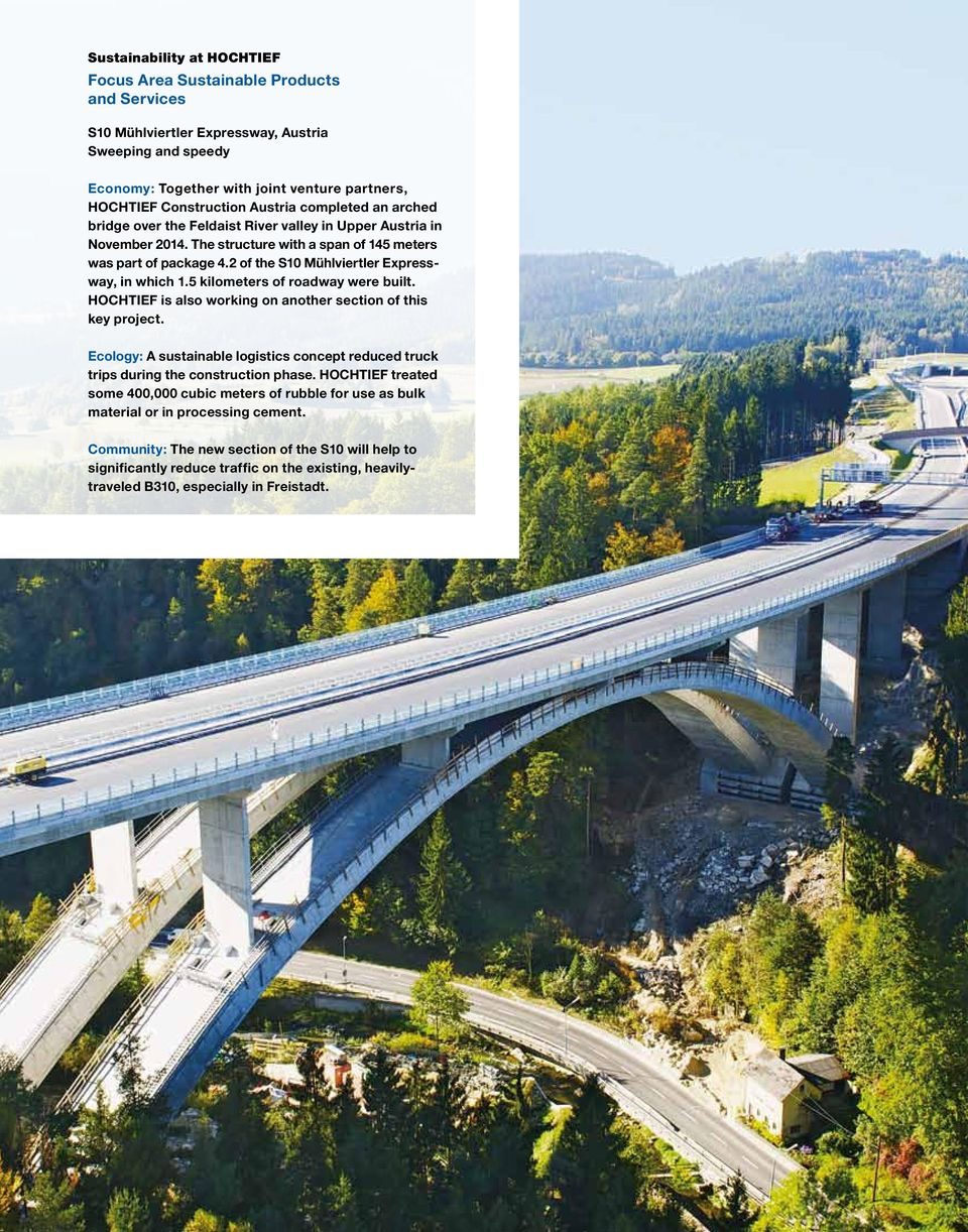 2 of the S10 Mühlviertler Expressway, in which 1.5 kilometers of roadway were built. HOCHTIEF is also working on another section of this key project.
